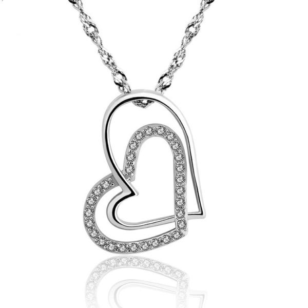 Two Linked Hearts Silver Necklace