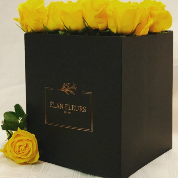 Yellow Roses Flower Box R450